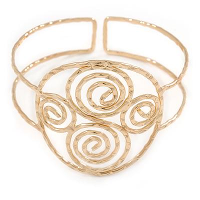 Greek Style Twirl Upper Arm, Armlet Bracelet In Hammered Gold Plating - Adjustable