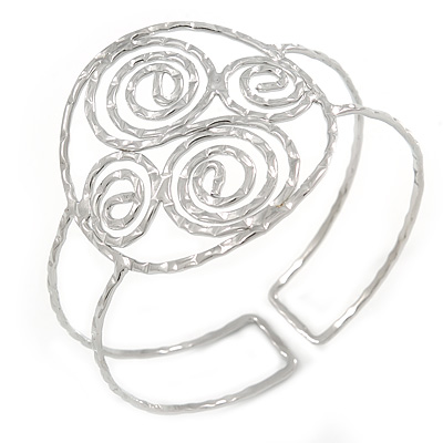 Greek Style Twirl Upper Arm, Armlet Bracelet In Hammered Silver Plating - Adjustable