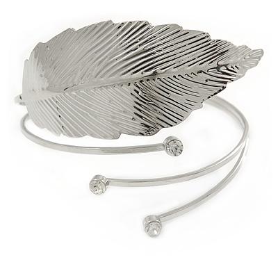 Hammered, Crystal Leaf Upper Arm, Armlet Bracelet In Silver Tone - Adjustable