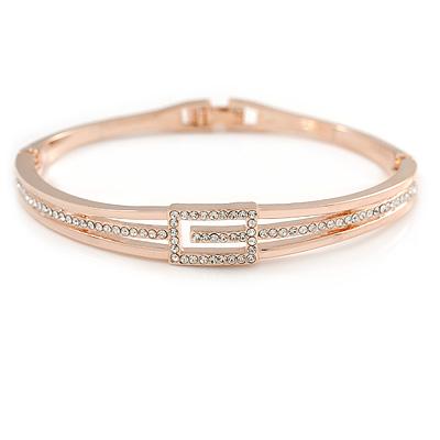 Delicate Austrian Crystal Buckle Bangle Bracelet In Rose Gold Tone Metal - 18cm L