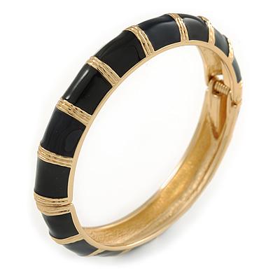 Black Enamel Hinged Bangle Bracelet In Gold Plating - 19cm L - main view
