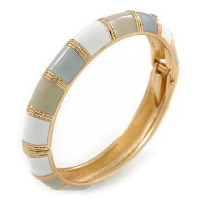 White/ Ash Grey/ Beige Enamel Hinged Bangle Bracelet In Gold Plating - 19cm L