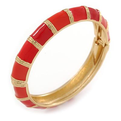 Fire Red/ Carrot Enamel Hinged Bangle Bracelet In Gold Plating - 19cm L