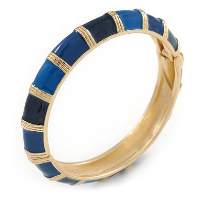 Navy Blue/ Midnight Blue Enamel Hinged Bangle Bracelet In Gold Plating - 19cm L