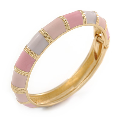 Baby Pink/ Pale Pink Enamel Hinged Bangle Bracelet In Gold Plating - 19cm L