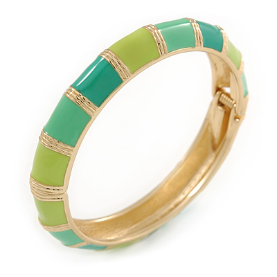 Salad/ Lime/ Azure Green Enamel Hinged Bangle Bracelet In Gold Plating - 19cm L