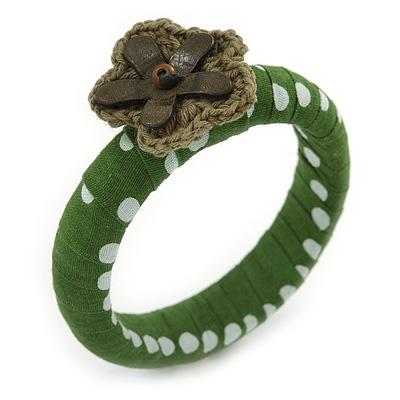 Grass Green/ White Polka Dot Fabric Bangle with Croshet/ Leather Flower - 17cm L