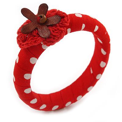 Red/ White Polka Dot Fabric Bangle with Croshet/ Leather Flower - 17cm L