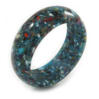 Light Blue Resin with Mosaic Effect Bangle Bracelet - Medium - 17cm L