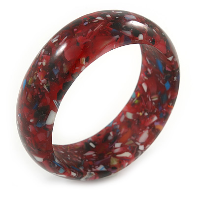 Red Resin with Mosaic Effect Bangle Bracelet - Medium - 17cm L