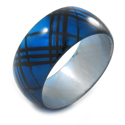 Blue/ Black Acrylic 'Tartan Pattern' Bangle Bracelet -  20cm Length