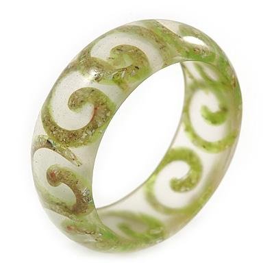Lime Green Swirl Motif Acrylic Bangle Bracelet (Transparent) - Medium Size - up to 18cm L