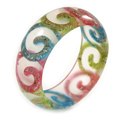 Multicoloured Swirl Motif Acrylic Bangle Bracelet (Transparent) - Medium Size - up to 18cm L