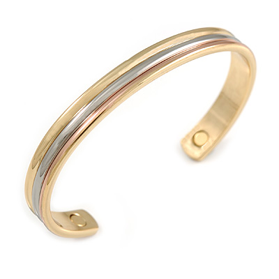 "Men Women Tri Tone Copper Magnetic Cuff Bracelet with Two Magnets - Adjustable Size - 7½"" (19cm )"