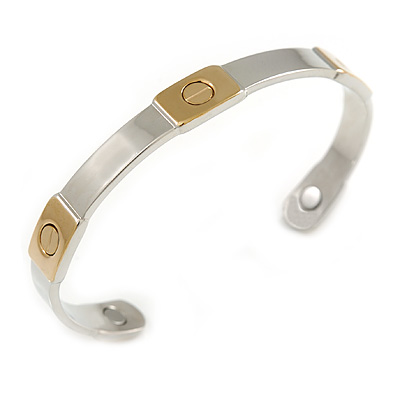 "Men Women Two Tone Belt Design Copper Magnetic Cuff Bracelet with Two Magnets - Adjustable Size - 7½"" (19cm )"