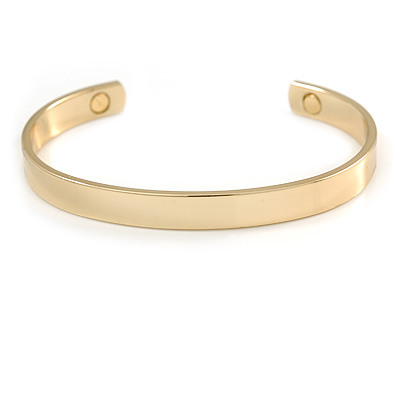 "Men Women Copper Magnetic Cuff Bracelet in Gold Finish with Two Magnets - Adjustable Size - 7½"" (19cm )"