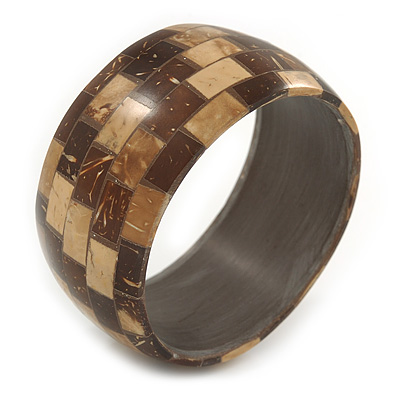 Brown/ Beige Coco Shell Mosaic Bangle Bracelet - 18cm L