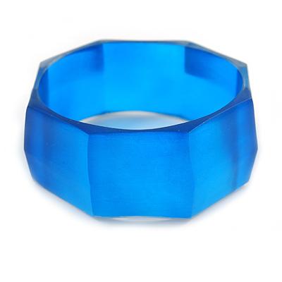 Royal Blue Multifaceted Acrylic Bangle Bracelet - (Medium) - up to 19cm L
