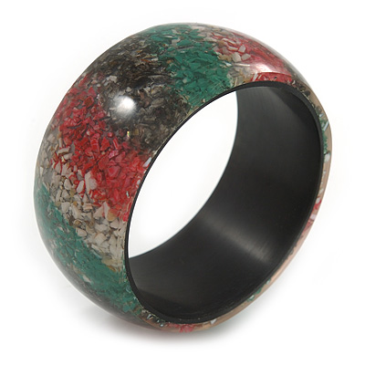 Chunky Multicoloured Stripy Bangle Bracelet - Medium - 19cm L