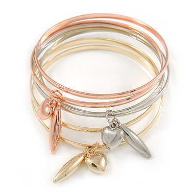 Set Of 6 Rose Gold/ Silver/ Gold Tone Slip-On Bangle Bracelets with Heart Charms - 17cm L/ For Small Wrist