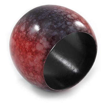 Chunky Wide Black/ Red Marble Effect Wood Bangle Bracelet - 17cm L/ Medium