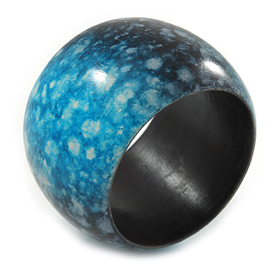 Chunky Wide Teal Blue/ Black Marble Effect Wood Bangle Bracelet - 17cm L/ Medium