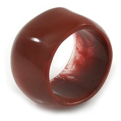 Wide Chunky Off Round Rusty Orange Resin Bangle Bracelet - 19cm Long