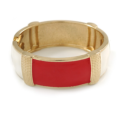 Red/ Off White Enamel Oval Hinged Bangle Bracelet In Gold Tone Metal - 18cm L