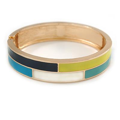 Blue/ White/ Lemon Enamel Oval Hinged Bangle Bracelet In Gold Tone Metal - 20cm L