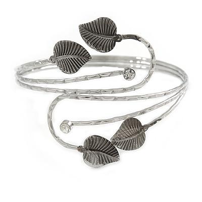 Antique Silver Tone Leaves and Crystals Upper Arm, Armlet Bracelet - Adjustable