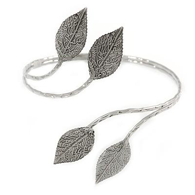 Aged Silver Tone Leaf Floral Upper Arm, Armlet Bracelet - Adjustable