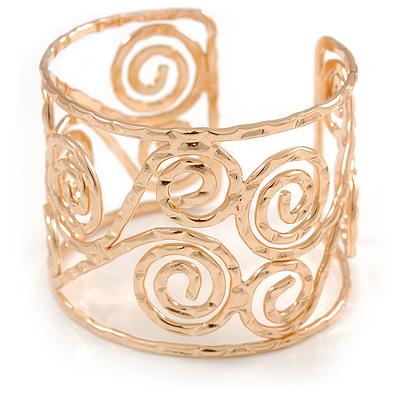 Wide Hammered Twirl Motif Cuff Bracelet In Gold Tone - 18cm Long