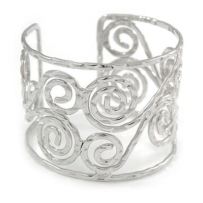 Wide Hammered Twirl Motif Cuff Bracelet In Silver Tone - 18cm Long