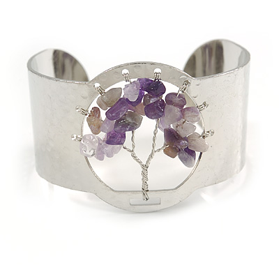 Stunning Amethyst Semiprecious Stone Tree Of Life Hammered Cuff Bangle Bracelet In Silver Tone - Flex - Boxed