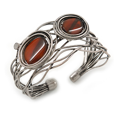 Vintage Inspired Brown Semiprecious Stone Wire Cuff Bracelet/ Bangle - Silver Tone - Adjustable