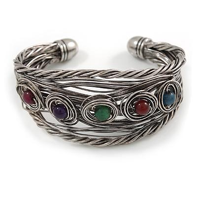 Vintage Inspired Multicoloured Semiprecious Stone Wire Cuff Bracelet/ Bangle - Silver Tone - Adjustable
