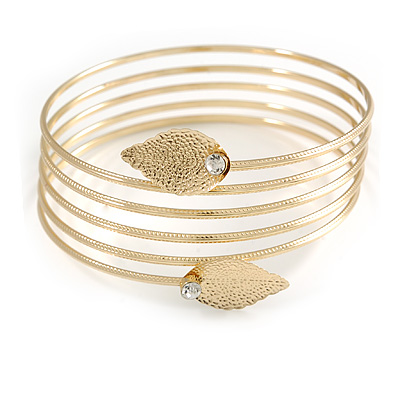 Gold Tone  Crystal Leaf Armlet Bangle - up to 26cm upper arm - For Small Size Upper Arm