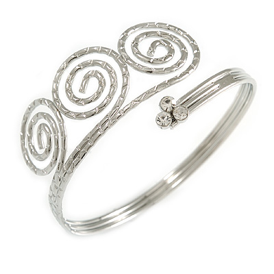 Silver Tone Textured Crystal 'Twirly' Upper Arm Bracelet Armlet - 28cm Long - Adjustable