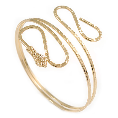 Gold Tone Hammered Snake Upper Arm, Armlet Bracelet - up to 28cm upper arm