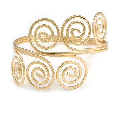 Greek Style Twirl Polished Upper Arm, Armlet Bracelet In Gold Tone - Adjustable