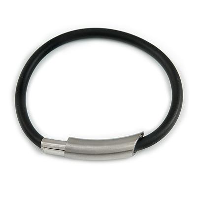 Black Rubberized Magnetic Costume Bracelet In Silver Tone - 20cm Long