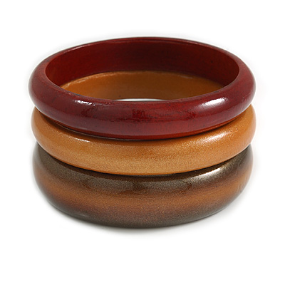 Set of 3 Wooden Bangles In Brown/ Brown Red(Possible Natural Irregularities) - main view