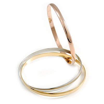 Set of 3 Intertwined Bangles In Silver/ Gold/ Rose Gold - 65mm Inner Diameter