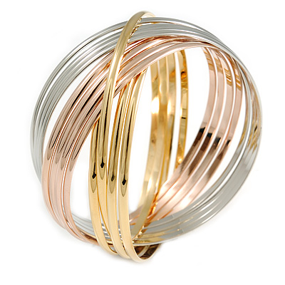 Set of 12 Intertwined Bangles In Silver/ Gold/ Rose Gold - 73mm Inner Diameter