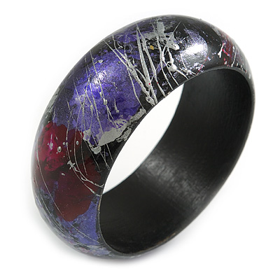 Round Wooden Bangle Bracelet in Abstract Paint in Pink/ Black/ Purple/ Silver- Medium Size - main view