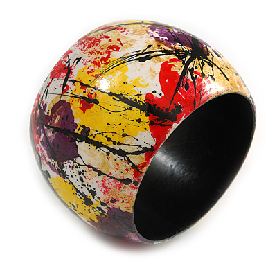 Wide Chunky Wooden Bangle Bracelet in Abstract Paint in Multi - Medium Size - main view