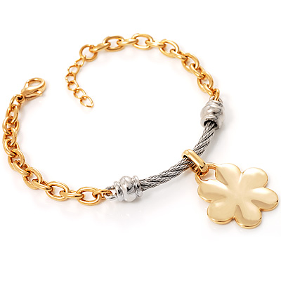 Two-Tone Flower Costume Bracelet - main view