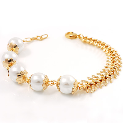 Virgin Gold Glass Pearl Bracelet