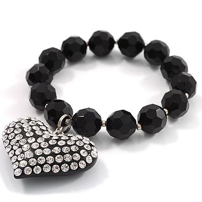 Black Plastic Jumbo Heart Stretch Costume Bracelet - main view