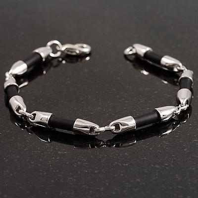Rhodium Plated & Black Rubberized Fashion Bracelet